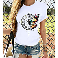cheap -Women's T-shirt Butterfly Graphic Prints Round Neck Tops Slim 100% Cotton Basic Top Cat White Black