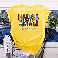 cheap -Women's T-shirt Letter Print Round Neck Tops 100% Cotton Basic Basic Top White Black Yellow