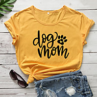 cheap -Women's T-shirt Graphic Prints Letter Print Round Neck Tops 100% Cotton Basic Basic Top White Black Purple