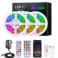 abordables -mashang 5m 10m 15m 20m rgb led bandes lumières synchronisation de la musique 12v bande led étanche 30led / m 5050 smd couleur changeante led lumière avec contrôleur bluetooth et adaptateur pour