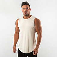 cheap -Men's Running Tank Top Cotton Breathable Soft Sweat Out Fitness Gym Workout Performance Running Training Sportswear Solid Colored Normal Singlet Top White Black Red Yellow Blushing Pink Army Green