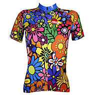 cheap -21Grams Women's Short Sleeve Cycling Jersey Polyester Blue+Green Purple Blue Floral Botanical Plus Size Bike Jersey Top Mountain Bike MTB Road Bike Cycling Breathable Quick Dry Ultraviolet Resistant