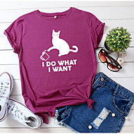 cheap -Women's T-shirt Animal Letter Print Round Neck Tops 100% Cotton Basic Basic Top Black Wine Army Green