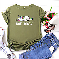 cheap -Women's T-shirt Cartoon Letter Print Round Neck Tops 100% Cotton Basic Basic Top Black Yellow Blushing Pink