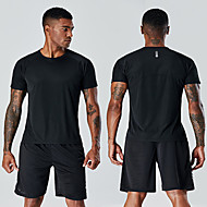 cheap -Men's Workout Tops Running Shirt Breathable Quick Dry Soft Fitness Gym Workout Running Jogging Sportswear Tee Tshirt Top fluorescent green White Black Green Activewear Micro-elastic