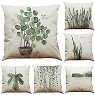 abordables -1 juego de 6 piezas serie botánica funda de almohada decorativa de lino funda de cojín 18 x 18 pulgadas 45 x 45 cm