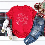cheap -Women's T-shirt Graphic Prints Letter Print Round Neck Tops 100% Cotton Basic Basic Top White Black Red