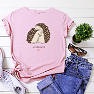 cheap -Women's T-shirt Animal Letter Print Round Neck Tops 100% Cotton Basic Basic Top White Black Yellow