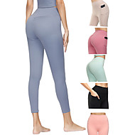 cheap -Women's High Waist Yoga Pants Side Pockets Ruched Butt Lifting Cropped Leggings Butt Lift 4 Way Stretch Breathable Black Red Light Green Spandex Non See-through Gym Workout Running Fitness Sports