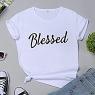 cheap -Women's T-shirt Letter Print Round Neck Tops 100% Cotton Basic Basic Top White Black Yellow