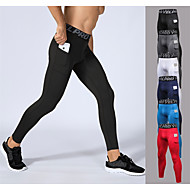 cheap -YUERLIAN Men's Running Tights Leggings Compression Pants Athletic Base Layer Tights Leggings with Phone Pocket Elastane Fitness Gym Workout Performance Running Breathable Quick Dry Sweat-wicking Sport