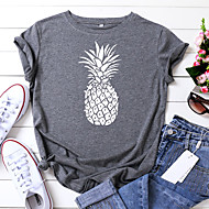 cheap -Women's T-shirt Fruit Print Round Neck Tops 100% Cotton Basic Basic Top Black Wine Army Green