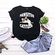 cheap -Women's T-shirt Animal Letter Print Round Neck Tops 100% Cotton Basic Basic Top Black Wine Army Green