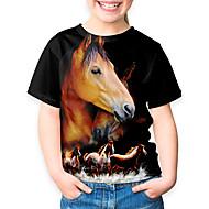 Børn Pige Sport og udendørs Basale Ferie Hest Dyr Trykt mønster Kortærmet T-shirt Sort