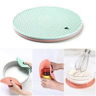 abordables -Posavasos multifunción 18 cm ronda resistente al calor panal de silicona deslizador antideslizante almohadilla herramientas de cocina 4 unids / set