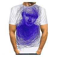 billige -Herre Plusstørrelser T-shirt Grafisk Portræt Trykt mønster Toppe Bomuld Basale Gade Rund hals Hvid / Kortærmet / Sommer