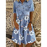 Χαμηλού Κόστους -Γυναικεία Φόρεμα τζιν πουκάμισο Φόρεμα μέχρι το γόνατο - Κοντομάνικο Φλοράλ Τσέπη Μπροστινό κουμπί Καλοκαίρι Κολάρο Πουκαμίσου Καθημερινό 2020 Θαλασσί M L XL XXL XXXL