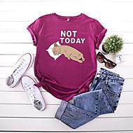 cheap -Women's T-shirt Animal Letter Print Round Neck Tops 100% Cotton Basic Basic Top Black Yellow Blushing Pink