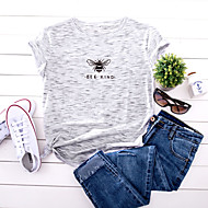 cheap -Women's T-shirt Color Block Animal Letter Print Round Neck Tops 100% Cotton Basic Basic Top White Yellow Blushing Pink