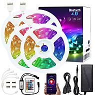 billige -KWB 4x5M Lyssett RGB-lysstriper Smart Lights 600 LED SMD5050 10mm 1x 1 til 4 kabelkontakt 1set RGB APP-kontroll Kuttbar Koblingsbar 12 V / Selvklebende