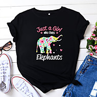 cheap -Women's T-shirt Floral Animal Letter Print Round Neck Tops 100% Cotton Basic Basic Top Black Wine Army Green