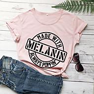cheap -Women's T-shirt Graphic Prints Letter Print Round Neck Tops Slim 100% Cotton Basic Basic Top White Black Purple