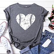 cheap -Women's T-shirt Heart Graphic Prints Print Round Neck Tops 100% Cotton Basic Basic Top Black Yellow Blushing Pink