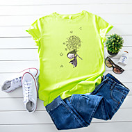 cheap -Women's T-shirt Floral Cartoon Print Round Neck Tops 100% Cotton Basic Basic Top White Yellow Blushing Pink