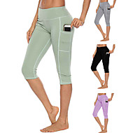 cheap -Women's High Waist Yoga Pants Multiple Pockets Capri Leggings Butt Lift 4 Way Stretch Breathable Black Light Green Light Purple Gym Workout Running Fitness Sports Activewear High Elasticity Slim