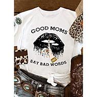 cheap -Women's T-shirt Graphic Prints Letter Print Round Neck Tops Slim 100% Cotton Basic Basic Top White