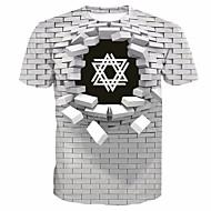 billige -Herre Plusstørrelser T-shirt 3D Grafisk Trykt mønster Toppe Rund hals Hvid Lilla Lyserød / Kortærmet / Sommer