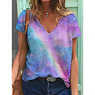 cheap -Women's T-shirt Tie Dye Print V Neck Tops Loose Cotton Basic Basic Top Rainbow