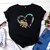 cheap -Women's T-shirt Color Block Heart Animal Print Round Neck Tops 100% Cotton Basic Basic Top White Black Yellow