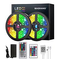 billige -mashang 5m 10m 15m 20m led stripelys rgb dc12v led lys fleksibel fargeendring smd 2835 med ir fjernkontroll og 100-240v adapter for hjem soveroms kjøkken tv bakgrunnsbelysning diy deco
