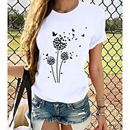 cheap -Women's T-shirt Graphic Prints Round Neck Tops Slim 100% Cotton Basic Top Cat White Black