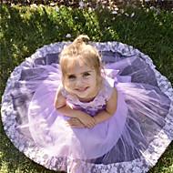 Χαμηλού Κόστους -Νήπιο Κοριτσίστικα Λουλούδι Γλυκός Πάρτι Άσπρο Ροζ Μονόχρωμο Πολυεπίπεδο Δίχτυ Αμάνικο Φόρεμα Κρασί