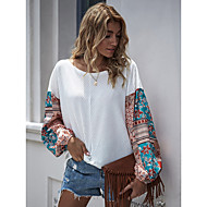 cheap -Women's Boho Print Color Block Pullover Long Sleeve Sweater Cardigans Crew Neck Spring Fall White