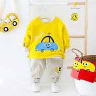 cheap -Toddler Boys' Active Basic School Vacation White Solid Colored Cartoon Print Drawstring Long Sleeve Regular Regular Clothing Set Red