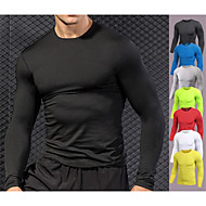 cheap -YUERLIAN Men's Running Shirt Athletic Long Sleeve Quick Dry Fast Dry Breathability Fitness Gym Workout Running Bodybuilding Sportswear Underwear Compression Shirt White Black Yellow Red Blue Grey