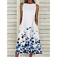 Women's Shift Dress Midi Dress - Sleeveless Floral Print Summer Casual Hot Loose 2020 White Yellow Blushing Pink S M L XL XXL 3XL 4XL