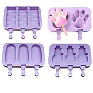 economico -Stampo per gelato in silicone 4 pezzi stampi per ghiaccioli stampo per ghiaccioli fai-da-te in casa per cartoni animati stampo per ghiaccioli con coperchio