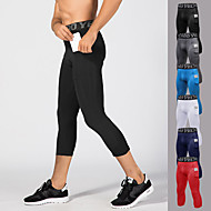 cheap -YUERLIAN Men's 3/4 Running Compression Pants Athletic Base Layer Tights Leggings with Phone Pocket Spandex Fitness Gym Workout Performance Running Training Breathable Quick Dry Moisture Wicking Sport