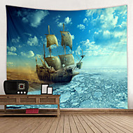 cheap -Old Wooden Boat by the sea Digital Printed Tapestry Decor Wall Art Tablecloths Bedspread Picnic Blanket Beach Throw Tapestries Colorful Bedroom Hall Dorm Living Room Hanging