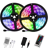 abordables -LOENDE 2x5M bandes lumineuses LED Ruban LED Flexibles Ensemble de Luminaires Barrette d'Eclairage RGB 600 LED 2835 SMD 8mm 1 set RGB Noël Nouvel An Découpable Soirée Décorative 100-240 V  Auto-Adhésiv