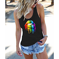 Women's Tank Top Rainbow Mouth Racerback Print Round Neck Tops Basic Basic Top White Black