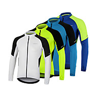 cheap -Arsuxeo Men's Long Sleeve Cycling Jersey Winter Polyester White Blue Green Bike Jersey Top Mountain Bike MTB Road Bike Cycling Breathable Quick Dry Reflective Strips Sports Clothing Apparel