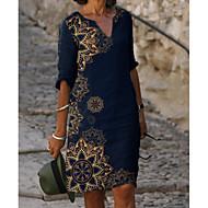 cheap -Women's Shift Dress Knee Length Dress - Half Sleeve Floral Print Summer V Neck Elegant Daily Loose 2020 Blue M L XL XXL XXXL