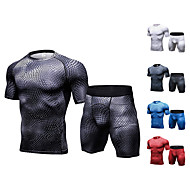 cheap -JACK CORDEE Men's 2-Piece Activewear Set Workout Outfits Running T-Shirt With Shorts Athletic Short Sleeve Fast Dry Breathability Stretchy Fitness Gym Workout Exercise Sportswear Snakeskin Clothing