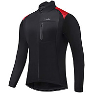 cheap -Men's Cycling Jacket Winter Fleece Spandex Polyester Bike Jacket Top Breathable Warm Back Pocket Sports Black / Red / Black Clothing Apparel Bike Wear / Long Sleeve / Reflective Strips