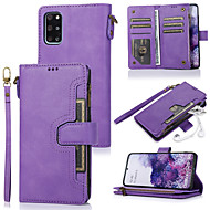 cheap -Case For Samsung Galaxy A51 A71 A70E A41 A31 A5 2018 A8 2018 Note 20 Card Holder Flip Magnetic Full Body Cases Solid Colored PU Leather